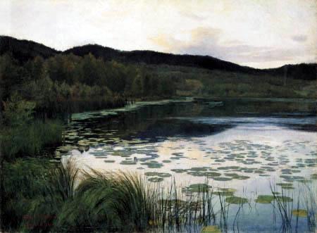 Kitty L. Kielland - Water lilies in a Summer night