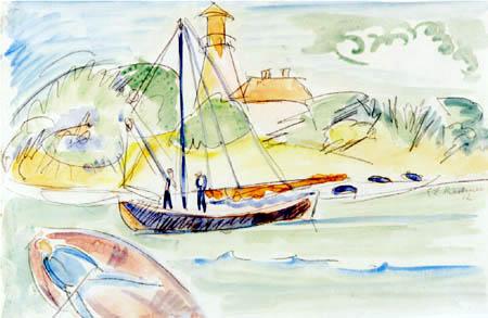 Ernst Ludwig Kirchner - Fehmarnküste mit Leuchtturm