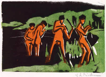 Ernst Ludwig Kirchner - Mit Schilf werfende Badende