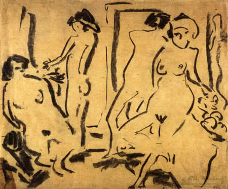 Ernst Ludwig Kirchner - Four female nudes in the studio