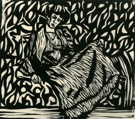 Ernst Ludwig Kirchner - Dodo sitzend im gestreiften Kleid