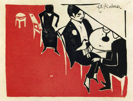 Ernst Ludwig Kirchner - Gentleman avec lapdog dans le café