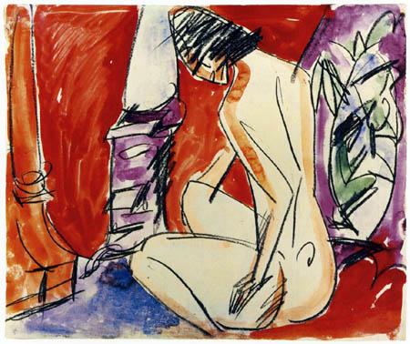 Ernst Ludwig Kirchner - Mädchenakt am Ofen