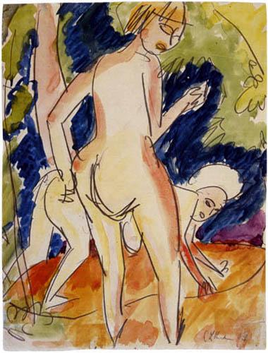 Ernst Ludwig Kirchner - Zwei badende Mädchen