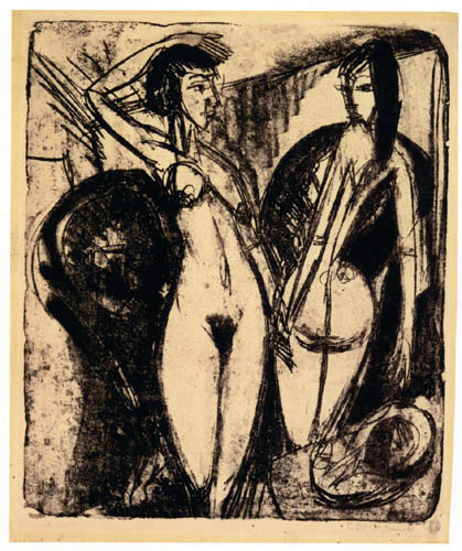 Ernst Ludwig Kirchner - Zwei tanzende Mädchen im Raum
