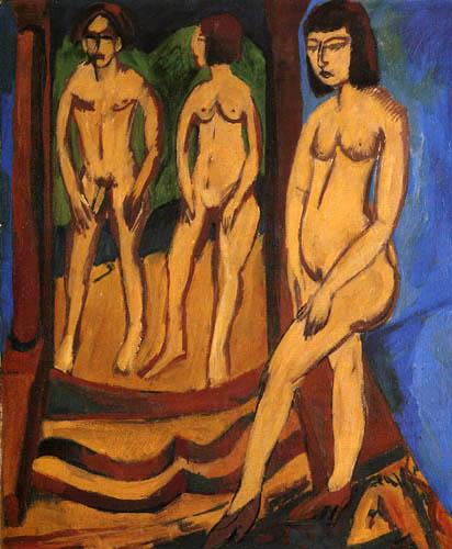 Ernst Ludwig Kirchner - Akt mit zwei Figuren im Spiegel