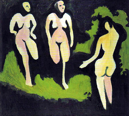 Ernst Ludwig Kirchner - Three nude in the meadow