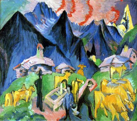 Ernst Ludwig Kirchner - Alpine way of life, Triptych Center