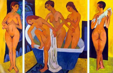 Ernst Ludwig Kirchner - Triptyque de femmes dans la salle de bains