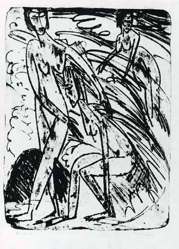 Ernst Ludwig Kirchner - Badende in Wellen