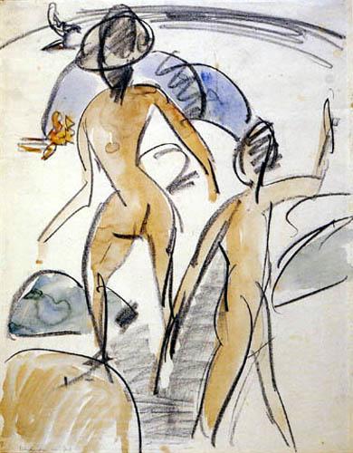 Ernst Ludwig Kirchner - Bañistas con un sombrero, Fehmarn