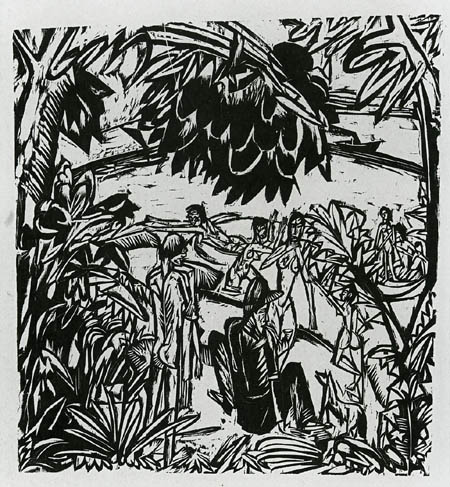 Ernst Ludwig Kirchner - Badende unter überhängenden Zweigen