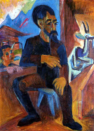 Ernst Ludwig Kirchner - The farmer Schmid in the stable