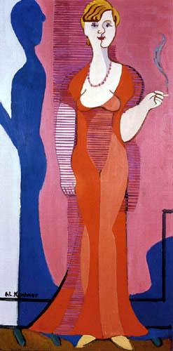 Ernst Ludwig Kirchner - Señora Hembus en vestido rojo