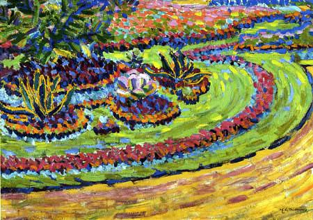 Ernst Ludwig Kirchner - Blumenbeete im Schloßpark Dresden