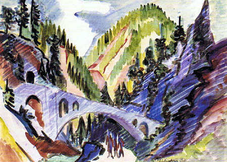Ernst Ludwig Kirchner - A bridge in the Landwasser - Valley
