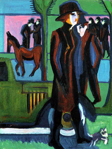 Ernst Ludwig Kirchner - A lady with a puppy