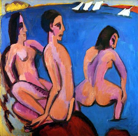 Ernst Ludwig Kirchner - Three Bathers by the Sea, Fehmarn