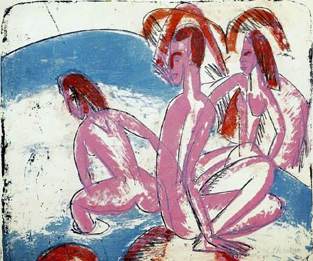 Ernst Ludwig Kirchner - Tres bañistas en piedras, Fehmarn