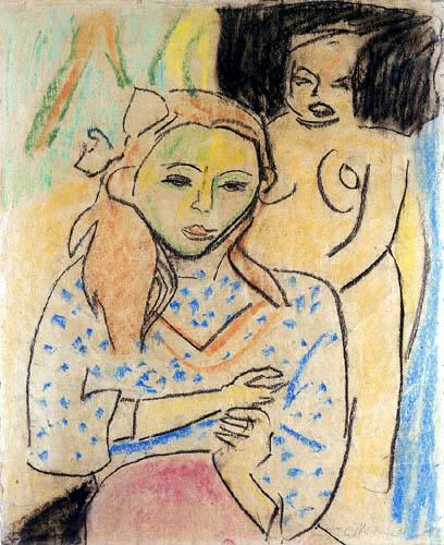 Ernst Ludwig Kirchner - Franzi en face de la chaire sculptée