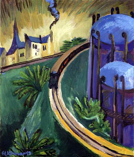 Ernst Ludwig Kirchner - Calderas de gas y el tren eléctrico