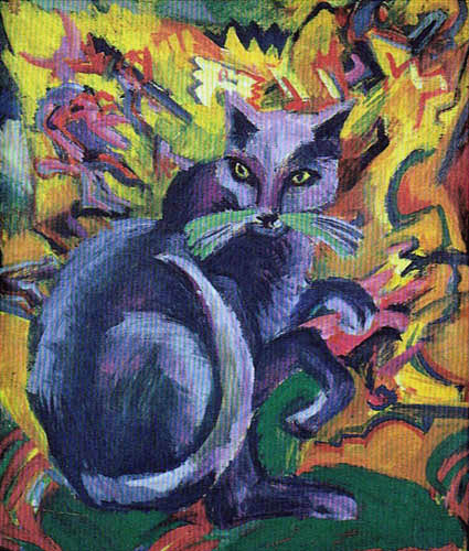 Ernst Ludwig Kirchner - Gray cat on a pillow