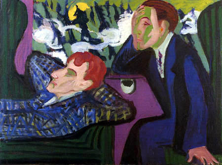 Ernst Ludwig Kirchner - In the fast train, Albert Müller and Kirchner
