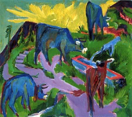 Ernst Ludwig Kirchner - Kühe bei Sonnenuntergang