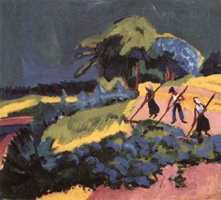 Ernst Ludwig Kirchner - Landscape with Peasants