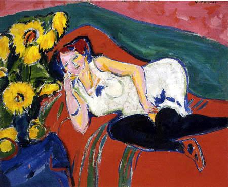 Ernst Ludwig Kirchner - Liegende Frau in weißem Hemd