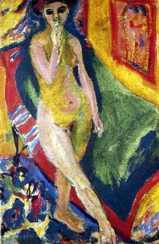 Ernst Ludwig Kirchner - Nacktes Mädchen vor grünem Sofa