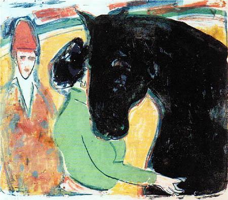 Ernst Ludwig Kirchner - Rapphengst, Reiterin und Clown