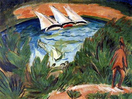 Ernst Ludwig Kirchner - Sailing boats in the storm, Fehmarn