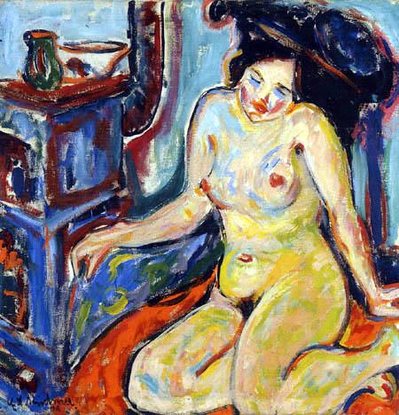 Ernst Ludwig Kirchner - Nu sur tissu orange