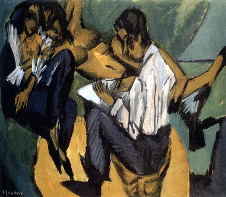 Ernst Ludwig Kirchner -  An artist with two women