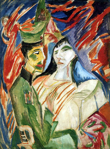 Ernst Ludwig Kirchner - Soldier and a young woman