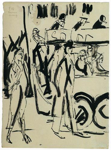 Ernst Ludwig Kirchner - Scène de rue avec double-decker bus