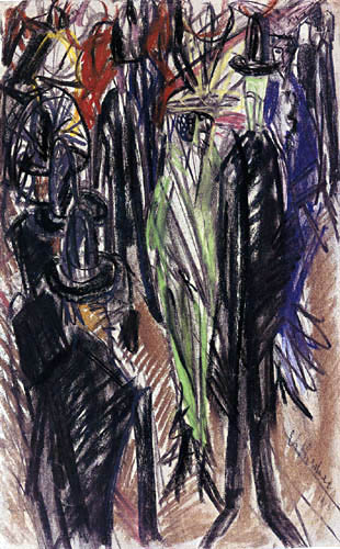 Ernst Ludwig Kirchner - Street Scene with Green Lady
