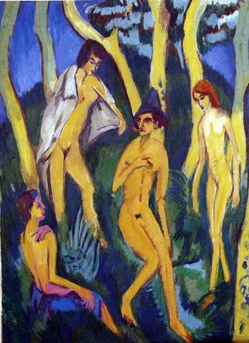Ernst Ludwig Kirchner -  Four nudes under trees