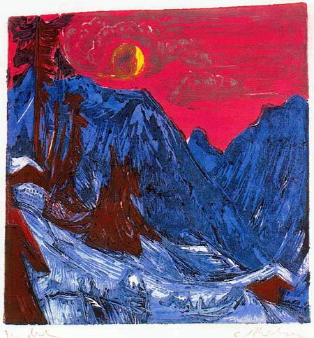 Ernst Ludwig Kirchner - Moonlit Night in Winter