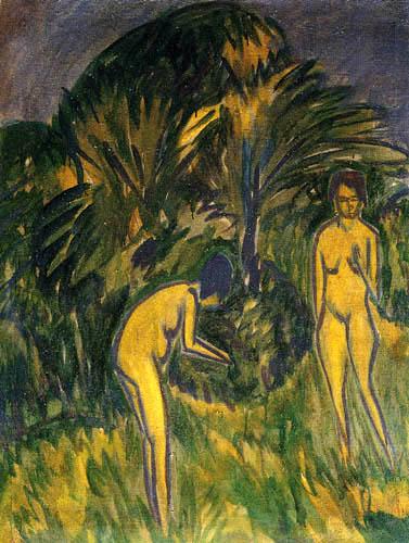 Ernst Ludwig Kirchner - Zwei weibliche Akte unter Bäumen