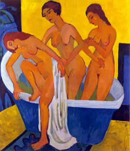 Ernst Ludwig Kirchner - Badende Frauen, Triptychon Mittelteil