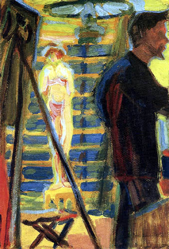 Ernst Ludwig Kirchner - Erich Heckel mit Modell im Atelier