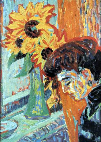 Ernst Ludwig Kirchner - Frauenkopf und Sonnenblumen