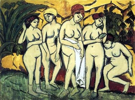 Ernst Ludwig Kirchner - Fünf Badende am See