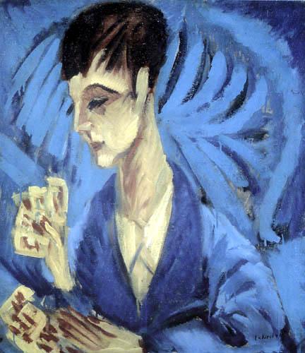 Ernst Ludwig Kirchner - Der Sohn Hardt beim Kartenspielen