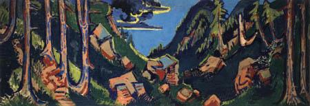 Ernst Ludwig Kirchner - Landschaft mit Bergen und Wäldern