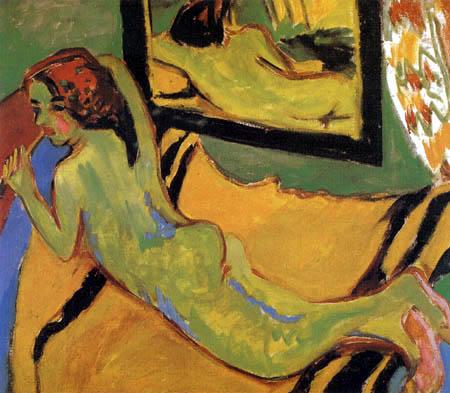 Ernst Ludwig Kirchner - Liegender Akt mit Pfeife vor einem Spiegel