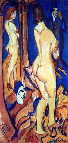 Ernst Ludwig Kirchner - Rückenakt mit Spiegel und Mann