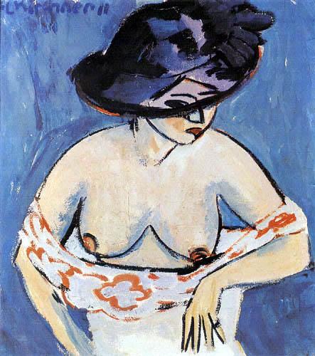 Ernst Ludwig Kirchner - Weiblicher Akt mit Hut